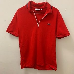 Lacoste Red 1/4 Zip Polo Shirt XL